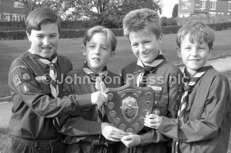 1990 Huthwaite Scouts with shield.jpg