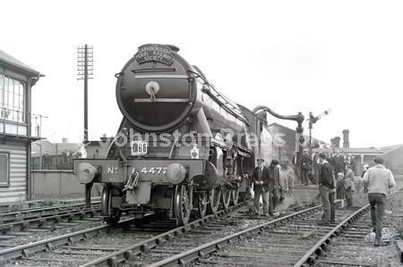 1965 Mansfield Flying Scotsman takes water during a rai