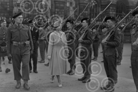 A youn Queen Elizabeth inspects soldiers, Edinburgh, 19