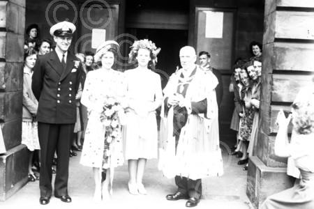A young Queen Elizabeth and the  Duke of Edinburgh and