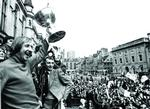 A triumphant Ally MacLeod waves the League Cup Trophy t