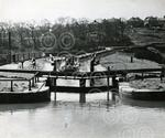 A canal barge at the locks on the Forth & Clyde Canal a