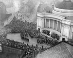 11. A huge crowd gathers for the Armistice Day Parade a