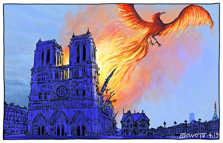 194449895 Notre Dame fire Phoenix rising from the flame
