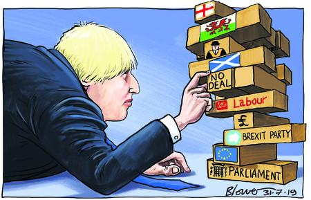 205197341 blower cartoon Boris Johnson jenga 31 july 20