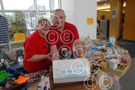 361428M Gwen Timmins and Tony Smith charity stall Russe